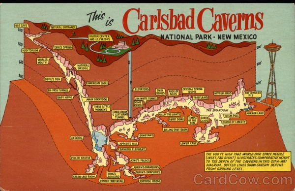 Depth Map of Carlsbad Caverns National Park, Ne Mexico