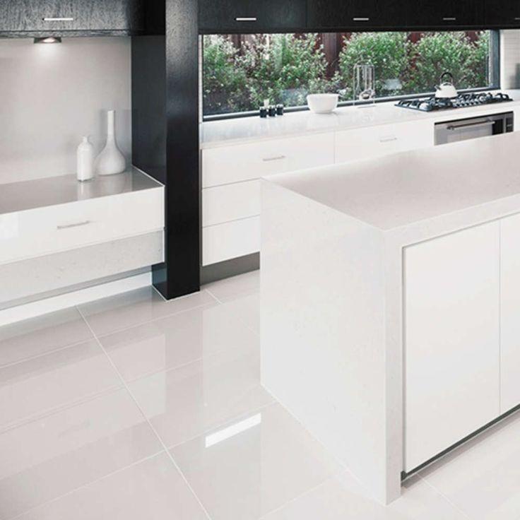 Large White Floor Tiles Kitchen