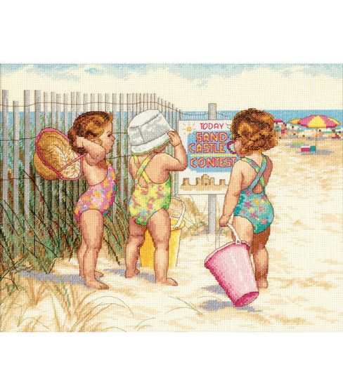 Dimensions® 14''x11'' Counted Cross Stitch-Beach Babies, , hi-res