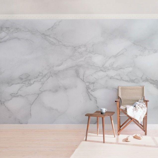 Marmor Tapete - Marmoroptik Schwarz Weiß - Vlies Wandtapete Breit