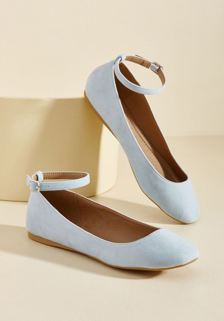 Every Step You Take Vegan Flat in Ice | Mod Retro Vintage Flats | ModCloth.com  Each time you go for a walk in these velvet flats, their spirited panache can be seen in the bounce of your every stride! Pale blue in color and strapped 'round the ankles with silver buckles, this ModCloth-exclusive pair is ready to make you happy for miles.