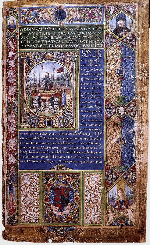 Gothic illuminated pages from the 15th century