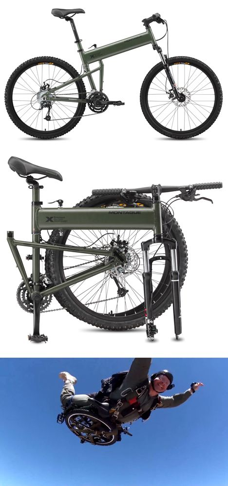 The 2013 24-speed Paratrooper and 27-speed Paratrooper Pro models break down, tool-lessly, in under 20 seconds. They're also designed for durability—unlike most folding bikes, they don't compromise the crossbar with a hinge, but instead keep the frame intact: