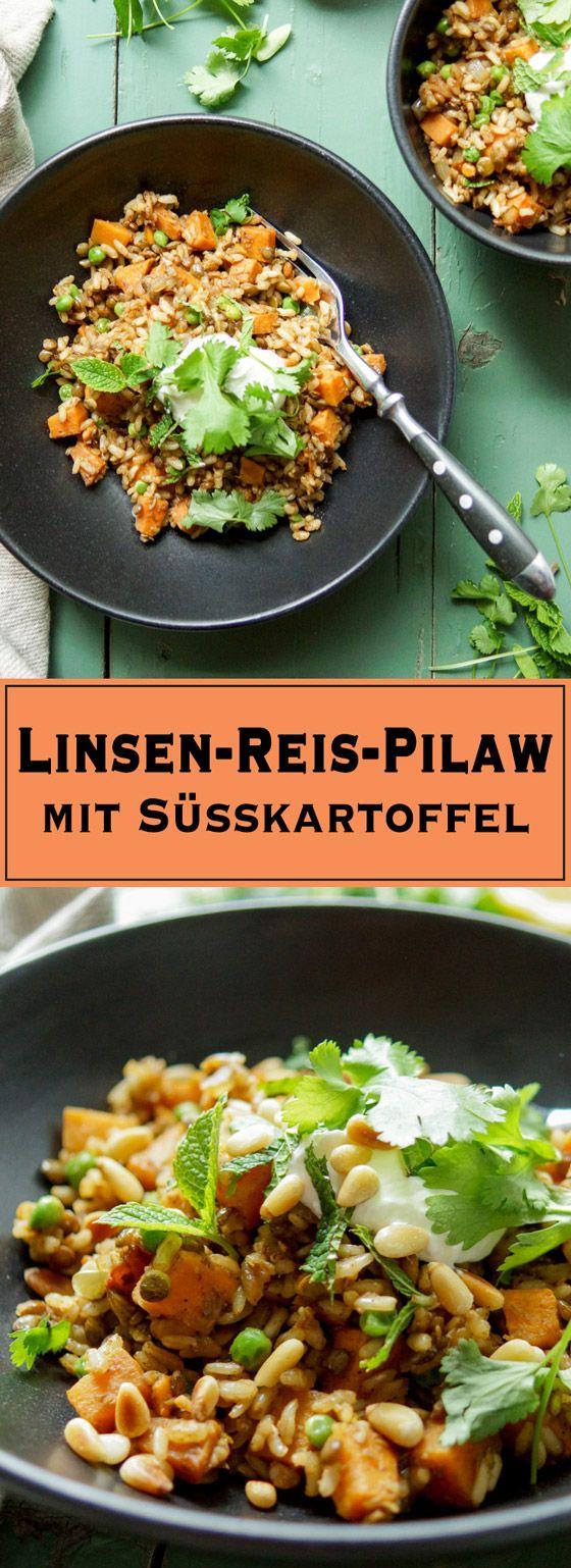 Linsen-Reis-Pilaw mit Süßkartoffel ist ein orientalisches Rezept mit mit vielen gesunden Zutaten wie brauner Vollkornreis, Linsen, Süßkartoffel und Erbsen. Viel mehr Gesundheit geht fast nicht. Der Reis und die Linsen können im Voraus gekocht werden. Das Rezept ist vegetarisch und glutenfrei. Einfache Gesunde Rezepte - Elle Republic