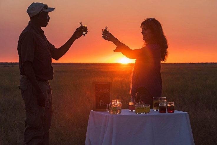 A sundowner stop on the plains of the Central Kalahari in front of Kalahari Plains Camp is totally magical. But this particular night came alive in a way that had to be felt to be believed – but I will try my best. We were hanging in the shadows of the sunken sun, the sky was a mature burnt orange against which we were silhouetted. Our conversations were getting deeper, mirroring the reflection of our shadows when one of the Owens Boys, the resident big black-maned Kalahari males, roared…