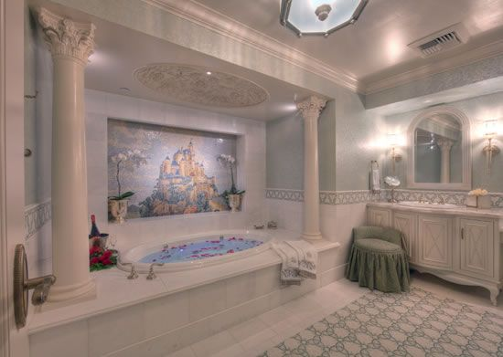 The new Fairy Tale Suite bathroom features a steam shower and Jacuzzi tub. Photo (c) Disney.
