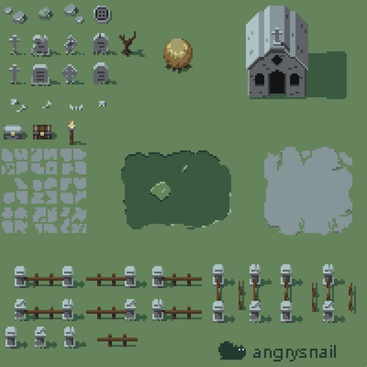 16*16 Pixel art graveyard tileset by angrysnail – Pixelart