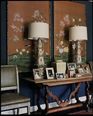 Bamboo Framed Chinoiserie + Obelisk Lamps + Console Table + Picture Frames  (design By Betsy