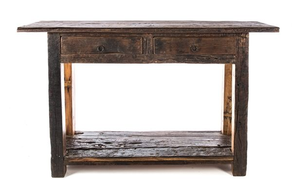 Casa Uno recycled Wood 2 Drawer Console SiDe Table Home Furniture - NEW