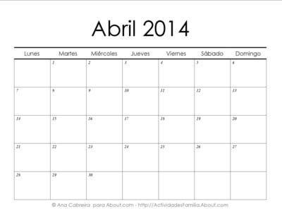http://actividadesfamilia.about.com/od/Calendarios/ss/Calendarios_2014_imprimir_simple_4.htm