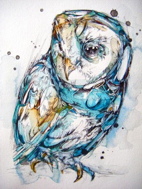 The Sea Glass Owl by Abby Diamond, via Behance - could be a beautiful owl tattoo