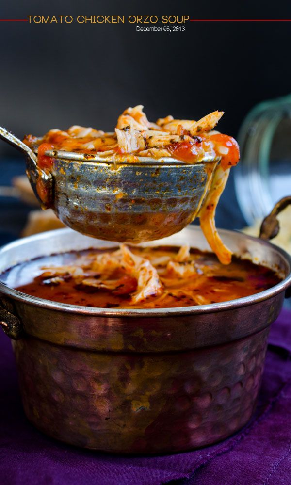 Tomato Chicken Orzo Soup. Tomato gives a very nice tangy-sweet flavor to the soup. Make sure you squeeze enough lemon into your soup. This is the best treatment for the cold! | http://giverecipe.com | #soup #orzo #chicken