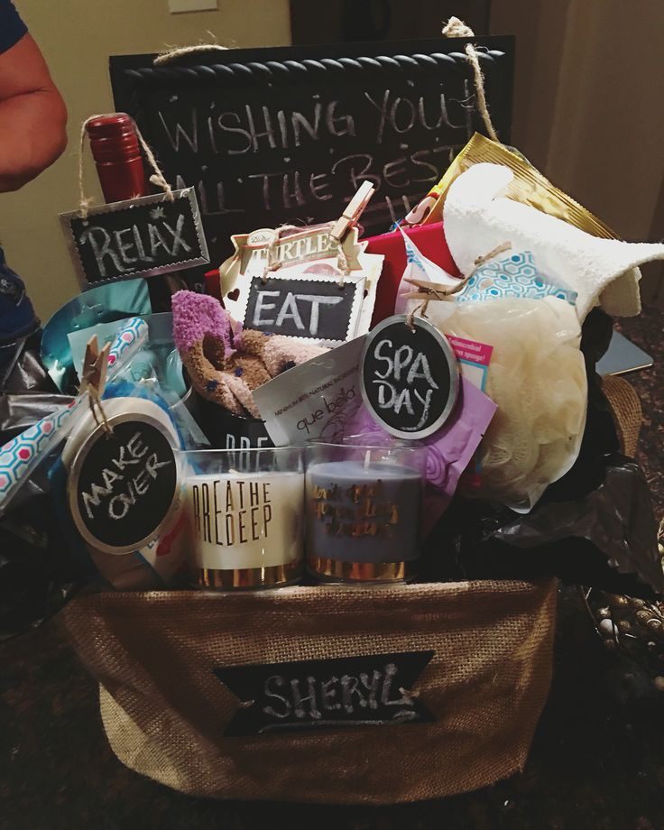 Farewell gift basket for my coworker ....emergency kit for the stay at home mom