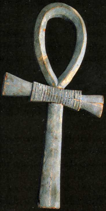 "The Ankh was an ancient Egyptian symbol of eternal life and immortality. The word ankh also means ""mirror"" in the ancient Egyptian language, as in a mirror to the soul. At the top of the ankh shown, there wings of Isis and a solar disk w/cobras. 2 Cobras, representing the goddess of Lower Egypt, are across the bar. At the bottom, King Ankhnaton."