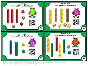 free place value qr codes 1st grade worksheets task cards printable rh pinterest com Base Ten Clip Art Base Ten Clip Art