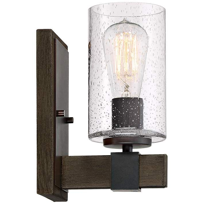 Poetry 9 High Seedy Glass Wood Grain Accent Wall Sconce 24m97 Lamps Plus Sconces Wall Sconce Lighting Farmhouse Wall Lighting