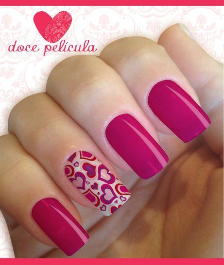 Películas ou Adesivos de Unhas Modelo Corações Rosa