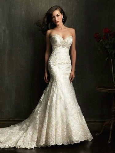 New Sexy White/Ivory Sweetheart Wedding Dresses Mermaid lace Bridal Gown Custom