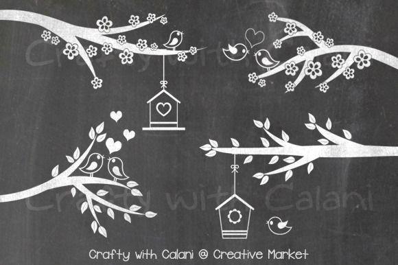 Love Bird & Flower Chalkboard by Crafty with Calani on @creativemarket