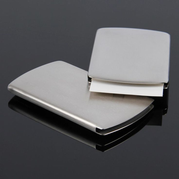New Business Card Holder Pocket Men Women Vogue Thumb Slide Out Stainless Steel Silver Aluminium Metal ID Credit Cards Case Box