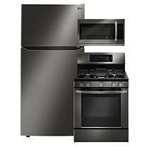 """Large Capacity 33"""" Wide, Top Freezer Refrigerator, Gas Range, and Over-the-Range Microwave Oven Package - Black"""