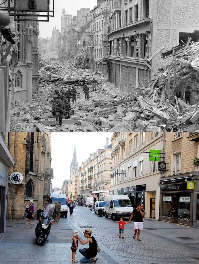 Rue de Caen lors de la guerre et aujourd'hui