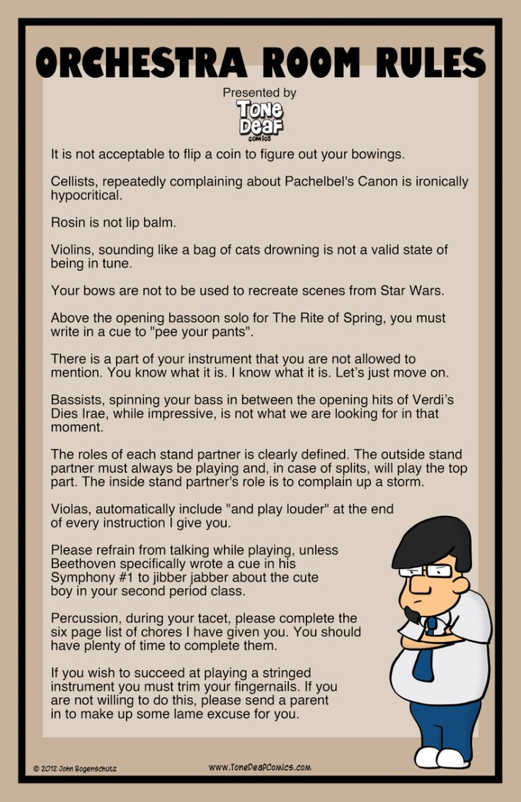 """Based on the comic Orchestra Room Rules, this hilarious 11"""" x 17"""" poster clearly explains the rules of your orchestra classroom to your students so they obviously get the point. The poster is professi"""