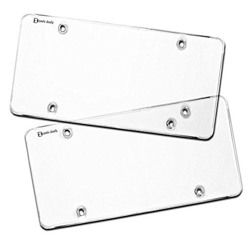 Zento Deals Flat Clear License Plate Cover - 2 Pack of Heavy-Duty All Weather License Plate Shield that Fits All Standard 6x12 Inches License Plate - Zento Deals Flat Clear License Plate Cover - 2 Pack of Heavy-Duty All Weather License Plate Shield that Fits All Standard 6x12 Inches License Plate ✺ The Zento Deals Flat Clear License Plate Covers areclear smoke flat design that will gives your car a sleeker look. A clear look that will ...