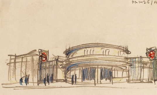 Facade Drawing of South Woodford Underground Station By Architect Charles Holden, 1936, Pencil and Crayon