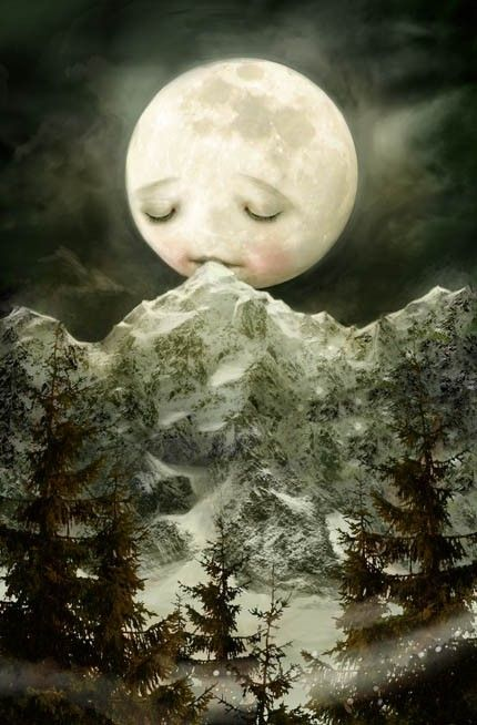 The Peckish Moon by Lisa Falzon Mediumsized print by Meluseena