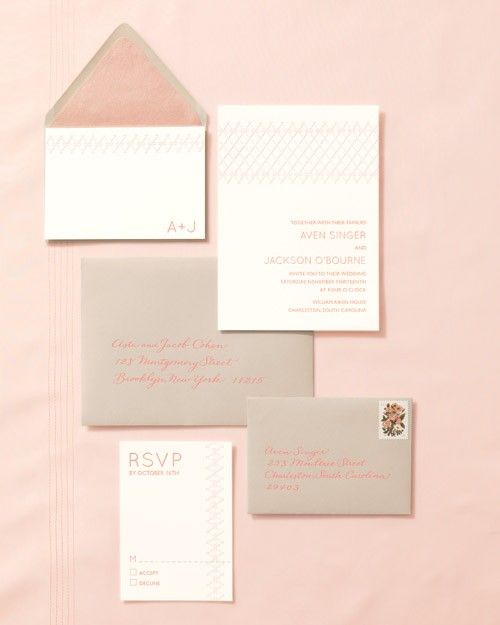 Here's a nod to the craftsmanship of those skillful seamstresses behind handmade garments: a letterpressed suite that mimics the tactile quality of fine stitching. The thank-you note is adorned with the couple's monograms, and the reply card depicts a line of thread where the guest signs her name. Consider matching the color of the calligraphy to that of the letterpress -- extending the palette to your envelope is an easy way to pull it all together. Delphine stationery suite. Calligraphy…