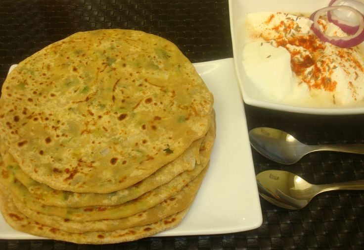 Vegetarian Indian Recipes: Cheese and Spring Onion Stuffed Paratha