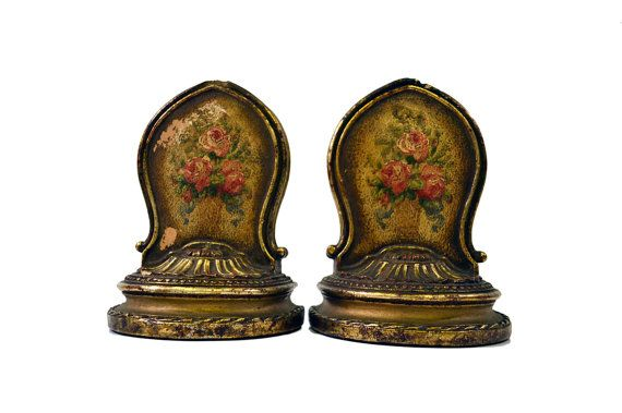 Antique Gilded Victorian Book Ends Gold Ornate Floral Painted Bertram S. Berney Baltimore Bookends on Etsy, $184.95