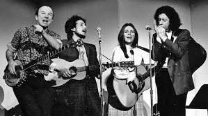 "Judy Collins - An Iconic photo of Peter, Dylan, me and Arlo at Carnegie Hall in 1969 to raise money for the ""Huntington's Chorea Foundation"" (thanks, all of you who picked that up!!) --that is what Woody Guthrie died of before it was called just Huntington's. We always wanted more of Pete- Thank God his music is here for all of us-""Turn Turn Turn"", Where Have All the Flowers Gone..?"" Goodbye old friend--you will be missed--Love, Judy"