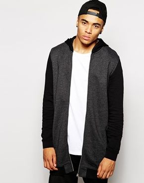 ASOS Super Longline Bomber In Jersey With Contrast Hood & Sleeves