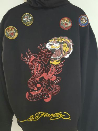 Christian-Audigier-Rhinestone-Hoodie-Ed-Hardy-New-York-City-Tiger-Patchs-Sz-4xl