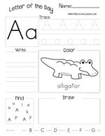 Letter of the Day Worksheet - Every Letter included! Print and Laminate for Choice Time