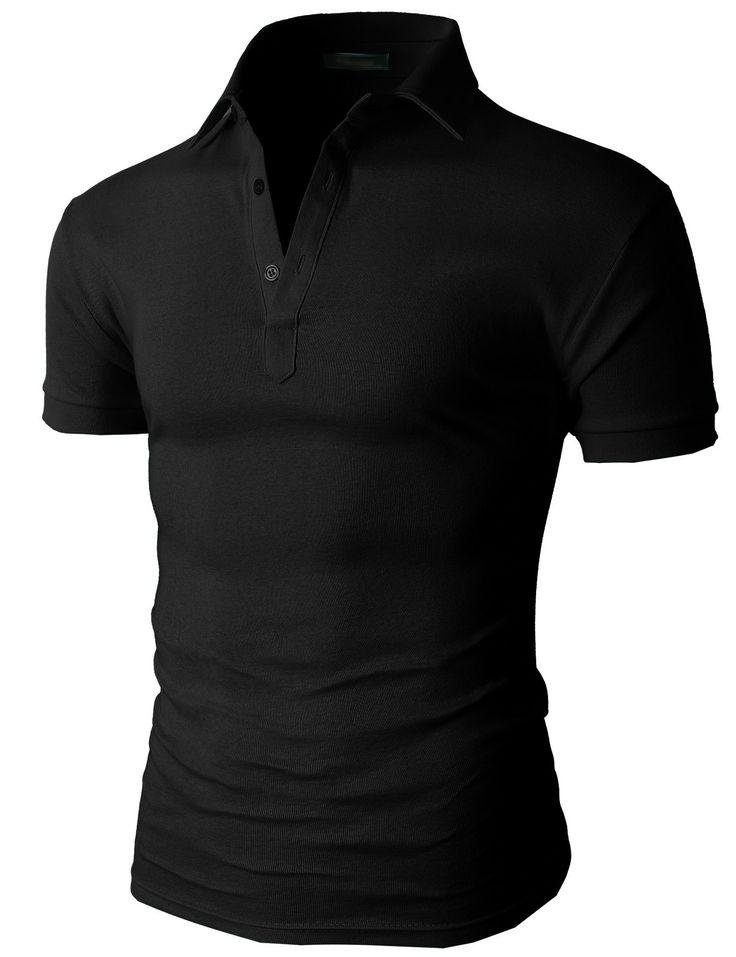 Doublju Men's Casual Solid Cotton Polo Shirts Short Sleeve (KMTTS077) #doublju