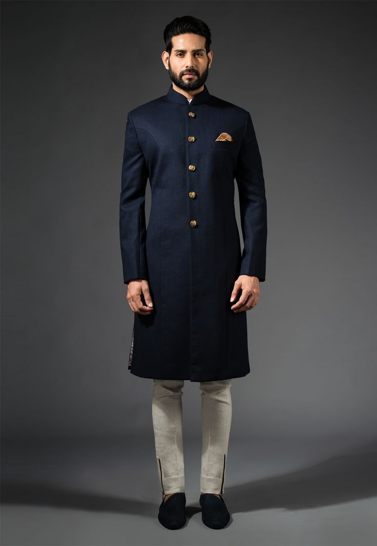 Navy Long Bandhgala #Navy #Bandhgala #Sherwani #Ornamental #PocketSquare #accessories