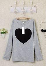 UK Womens Blouses Loose Top T-Shirt Cotton Casual Ladies Grey Cute Girl Shirt