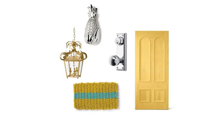 Key West-Inspired Front Door - Front Door Style - Southern Living - Taking cues from one of our favorite colorful coastal towns, we added a splash of sunshine to this entry.    Doormat: Fisherman's Rope Mat, $34.95; macsmats.com Light: Portola Biron White Hanging Exterior Lantern, $1,185; troy-lighting.com Hardware: Polished Chrome Lockset by Emtek, $149; brandinobrass.com Door Knocker: Hospitality Pineapple Door Knocker in Nickel Silver, $110; michaelhealy.com Front Door: Eastern Whit...
