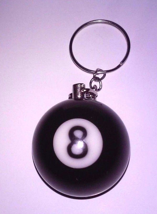 "Keychain Pool Billiards Snooker ""8 Ball""  Black Heavy Material Metal Ring"