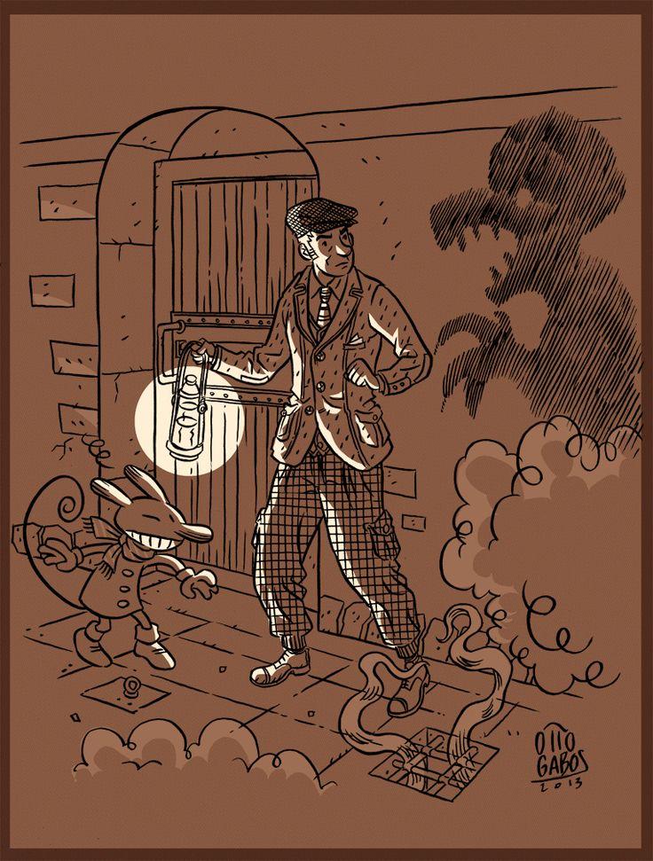 """""""The Distant Traveler: Mistery Crime!"""" Studio per coordinato poster e cartolina con i personaggi tratti dalla graphic novel """"Il Viaggiatore Distante"""", edizioni Black Velvet, 2007. China su carta, fx."""