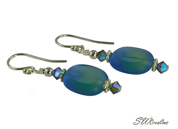 Handcrafted 1 1/2 inch blue ocean crystal handmade beaded earrings created with blue zircon crystal ABx2 Swarovski Austrian crystals, blue window Czech glass beads, Bali .925 silver, sterling earwires