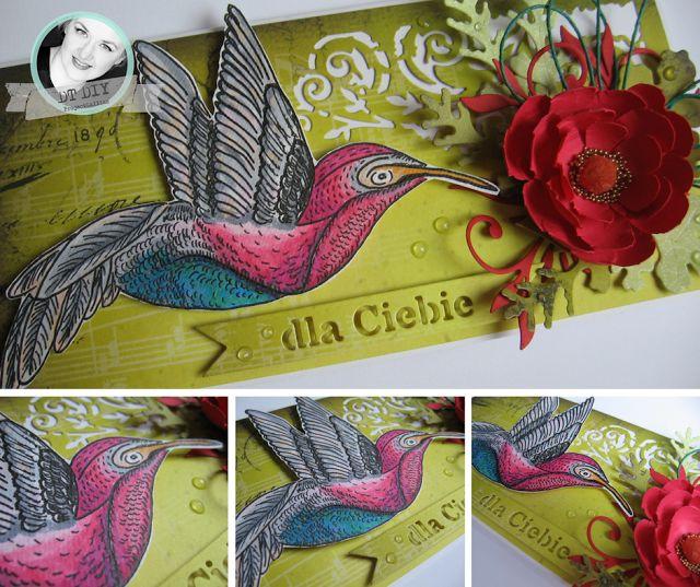 ProjectGallias dla DIY: Kartka z koliberkiem i kwiatem, inspiracja do wyzwania W MAJU JAK W GAJU. Rysunek by ProjectGallias, pokolorowany copikami. Handmade, copic markers.