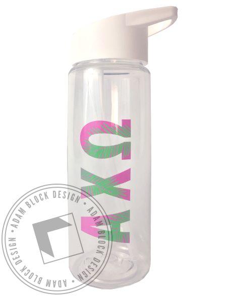 Alpha Chi Omega Tropical Water Bottle by Adam Block Design | Custom Greek Apparel & Sorority Clothes | www.adamblockdesign.com