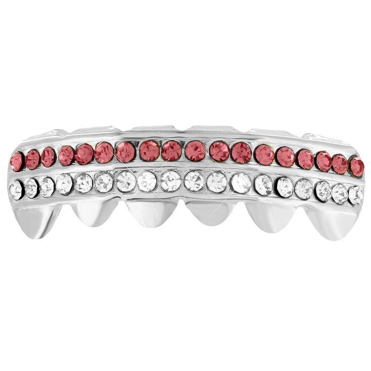 Bottom Teeth Grillz Caps Mouth 14k White Gold Finish 2 Row Brown White Lab Diamonds