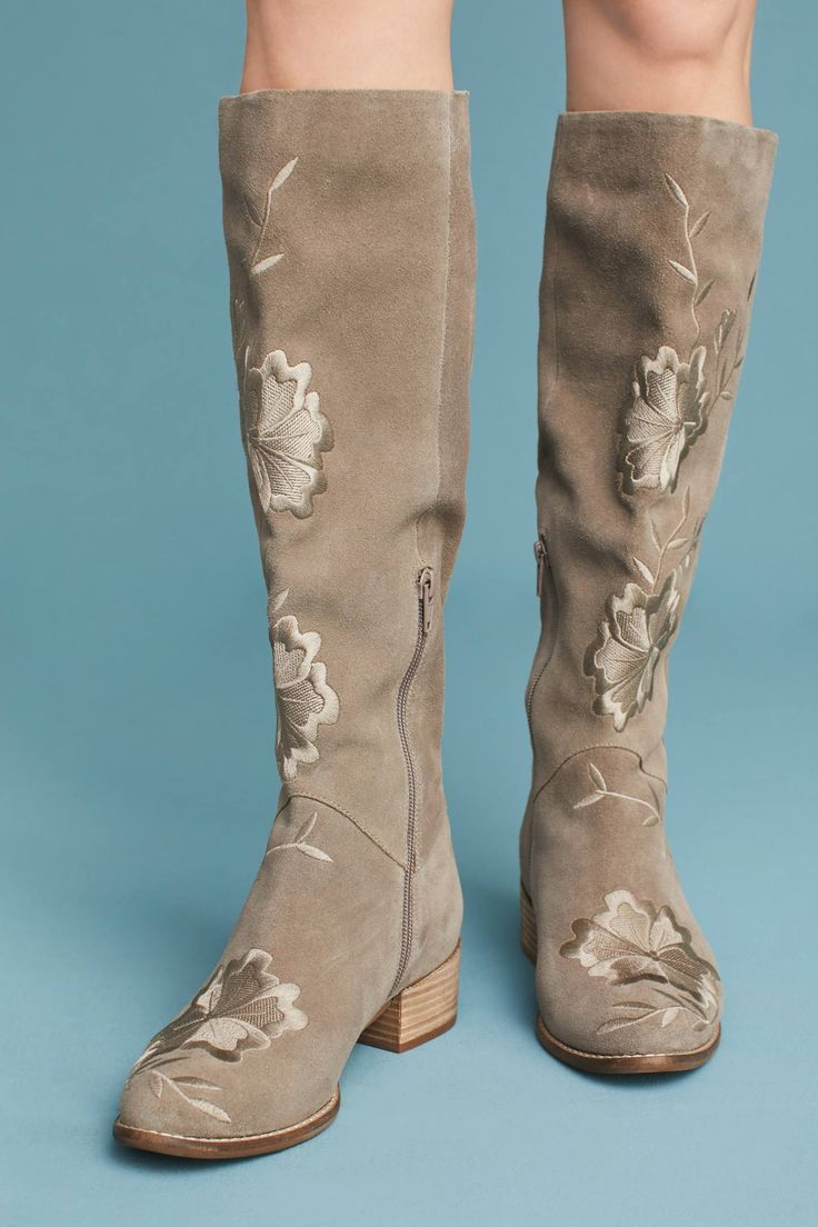 at Anthropologie - Seychelles Callback Embroidered Boots in taupe