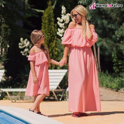 Rochii identice pentru mama si fiica din bumbac, de vara