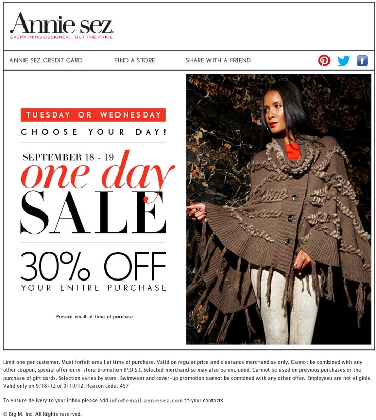 Annie sez coupons 2018